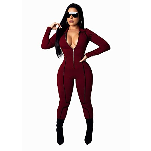 9a29fb87b84 Amazon.com  Women s Sexy V Neck Long Sleeve Romper Zipper Front one Piece  Bodycon Jumpsuit Party Casual Stretchy Pants Plus Size Red S  Clothing