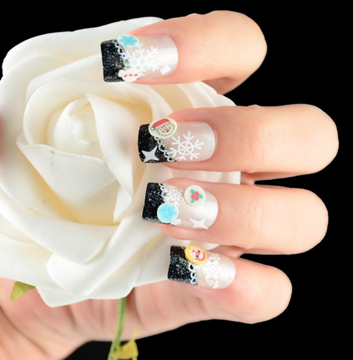 Amazon.com : Christmas Snowflakes Design 3D Nail Art Stickers Decals ...