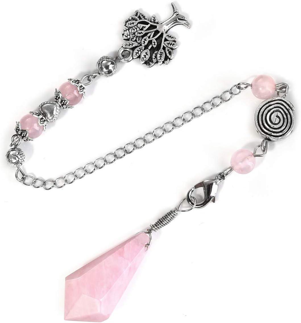 Inner Healing Crystal Rose Quartz Crystal Pendulum Crystal Pendant for Necklace
