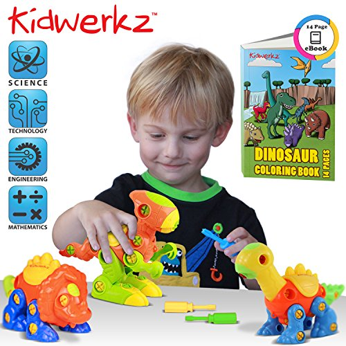 Kidwerkz Dinosaur Toys, STEM Learning (106 pieces), Take Apart Fun (Pack of 3), Construction Engineering Building Play Set For Boys Girls Toddlers, Best Toy Gift Kids Ages 3yr – 6yr, (Toys For 3 Yr Old Boy)