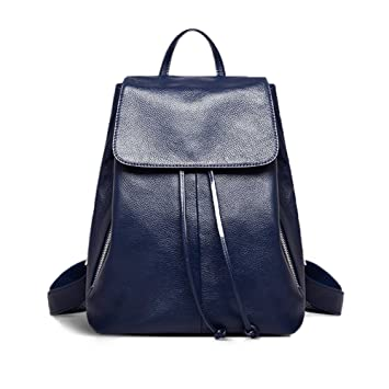 a77a909665ef8 Fanshu Echtes Leder Rucksack für Frauen Elegante Damen Reise Schule  Umhängetasche Blau