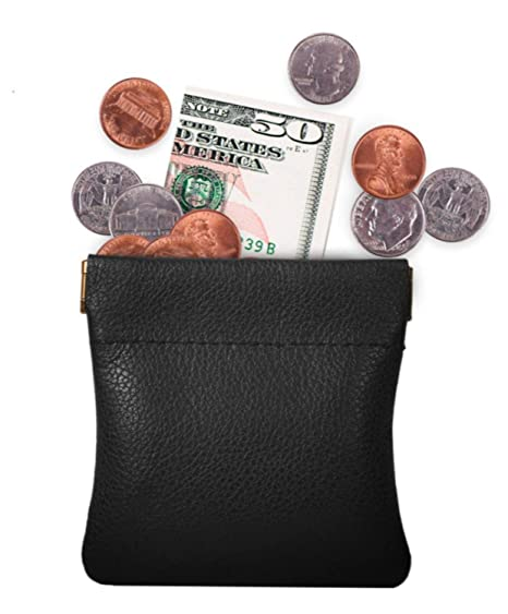 5e9f89a0c Genuine Leather Squeeze Coin Purse, Pouch Made IN U.S.A. Change Holder For  Men/Woman