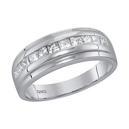 Anillo de boda de 10 quilates de oro blanco para hombre con diamante de princesa de
