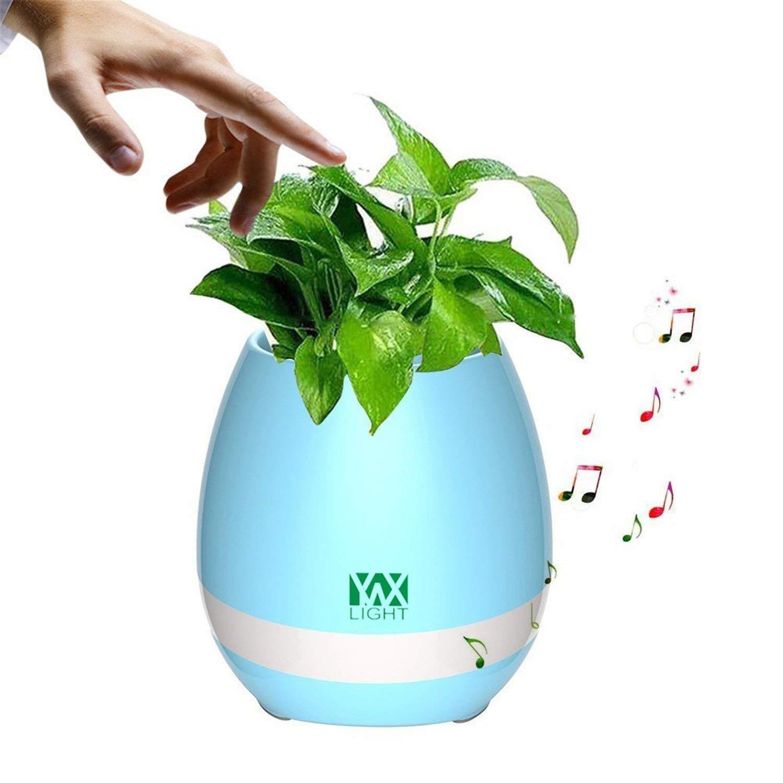 Oudan Light Smart Touch Sensoren LED Nachtlicht LED Musik Blautooth Blaumentopf Licht Blaume Vase Spielen Sie die Klavier Dekoration Pflanzer Lautsprecher (Farbe   Blau) (Farbe   Blau)
