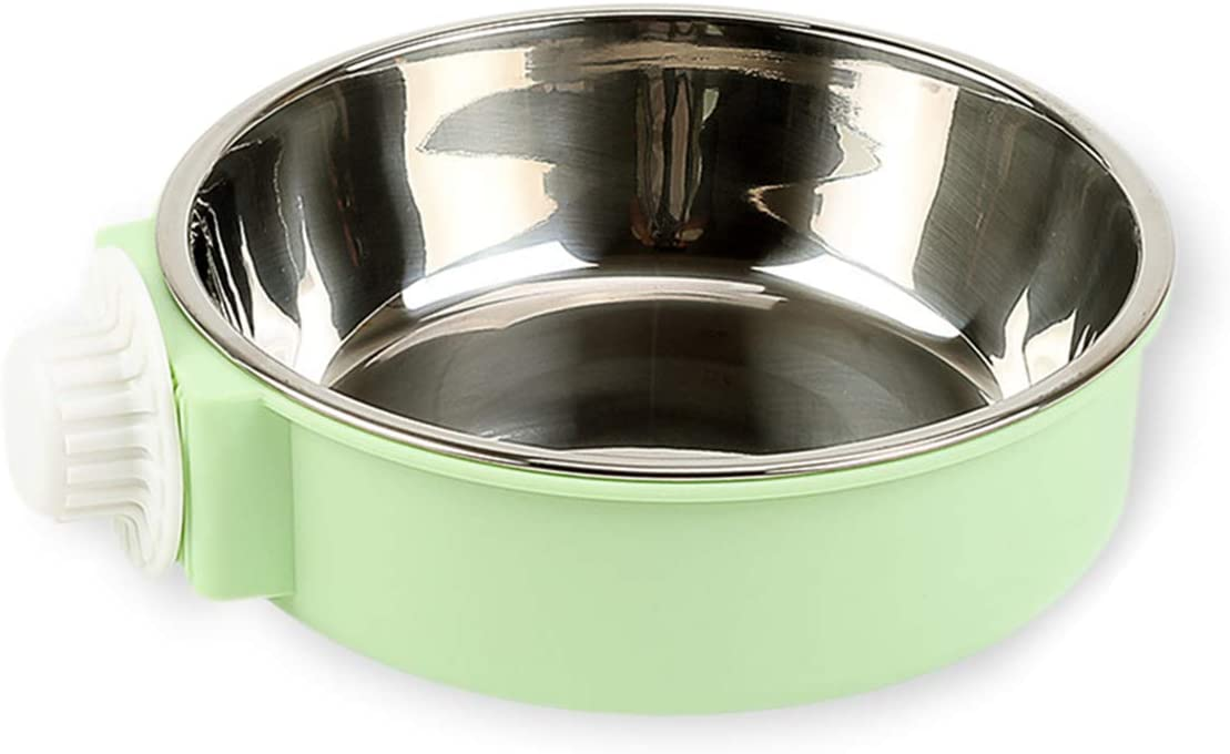 Andiker Pet Hanging Bowl 2-in-1 Removable Stainless Steel Food Hanging Bowl for Puppy/Cat, Pet Bowl Hanging Cage Large Water Food Feeder for Dogs Cats