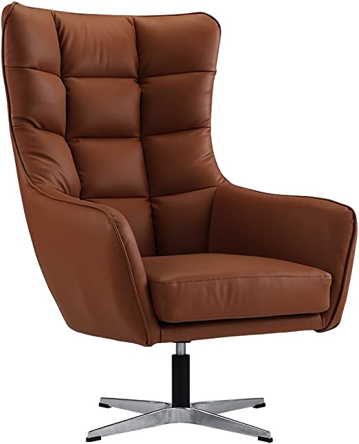 Modern Living Room Bonded Leather Tufted Armchair, Home Office Executive  Swivel Chair (Camel Brown)