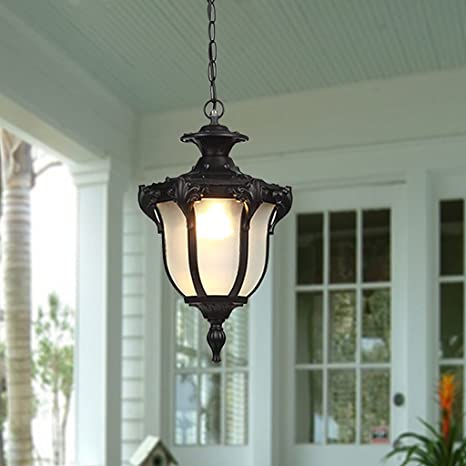 Chandelier Outdoor Waterproof Chandelier, Patio, Hallway, Aisle, Balcony,  Garden, Gazebo, Vintage Outdoor Chandelier E27 Light Source (Color : Black)  ... - Chandelier Outdoor Waterproof Chandelier, Patio, Hallway, Aisle