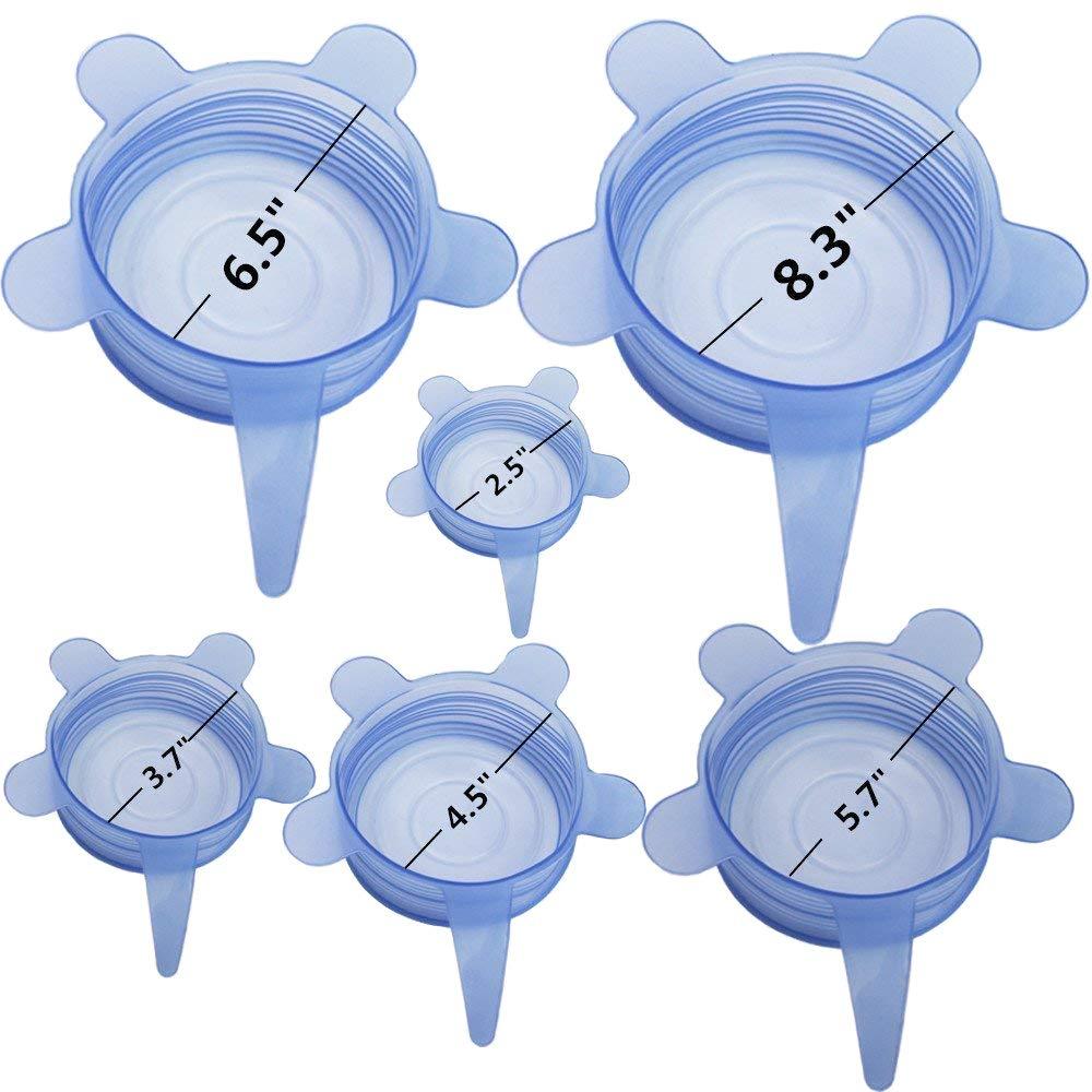 Couvercles en Silicone Extensibles R/éutilisables Pack de 6 de Diff/érentes Tailles