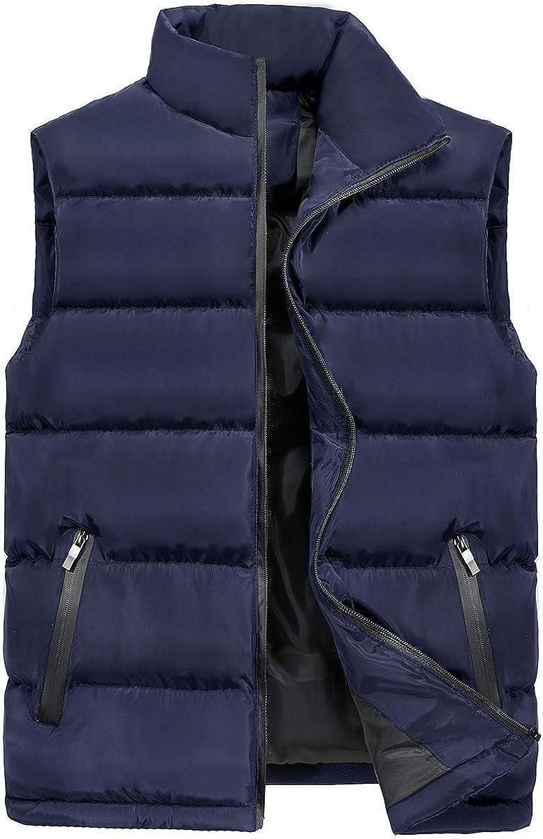 Mens Padded Puffer Gilets Lightweight Sleeveless Jacket Winter Thicken Bodywarmer Quilted Vest Waistcoat Plus Size S-3XL