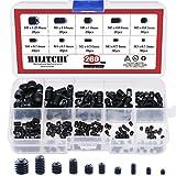 Hilitchi 200pcs M3/4/5/6/8 Allen Head Socket Hex Grub Screw Set Assortment Kit with Plastic Box 12.9 Class Black Alloy Steel