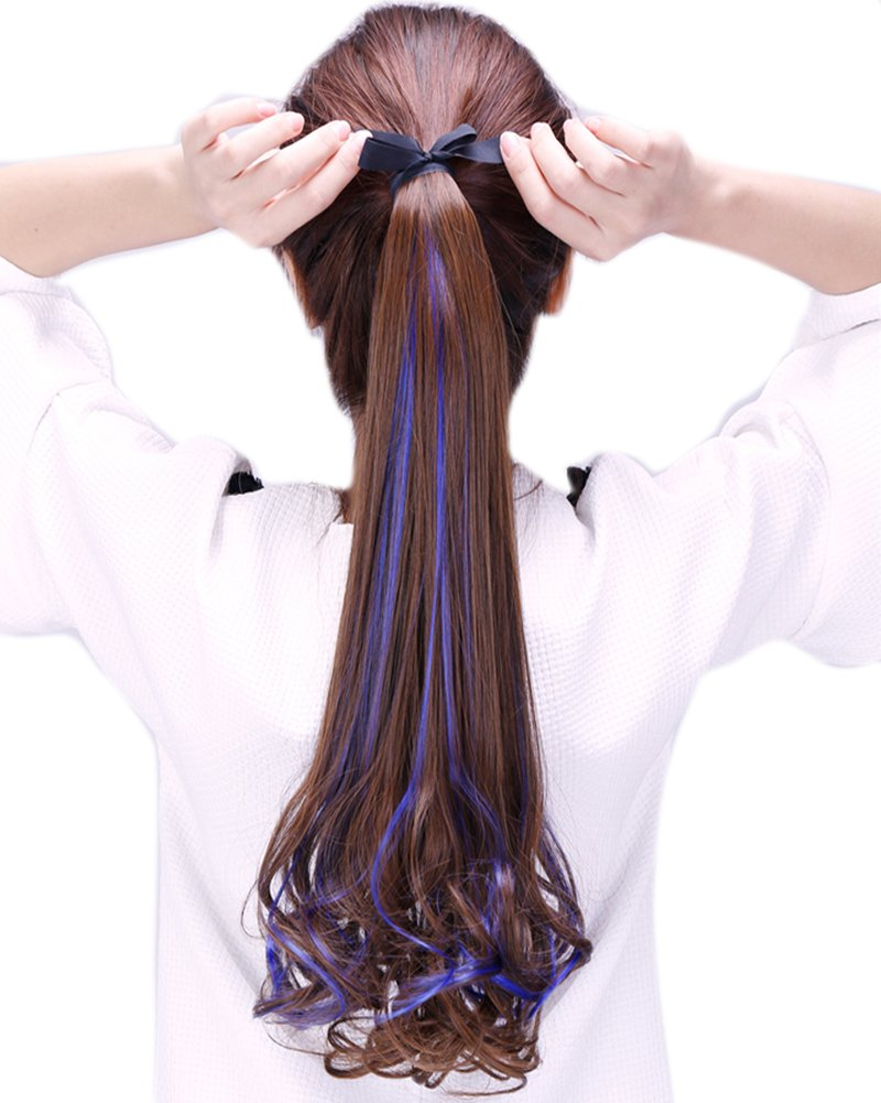 BarRan Fashion Ombre Drawstring Ponytail Long Wrap Around Hairpiece Clip in Hair Extensions (Light Brown and Purple) 5462