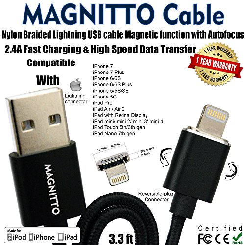 MAGNITTO Apple USB Lightning Charger Cable Nylon Braided Magnetic with AUTOfocus Fast...
