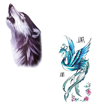 1dcd8ec641456 Amazon.com : Wolf And Phoenix Temporary Tattoos Waterproof Stickers-Set Of  Two : Beauty
