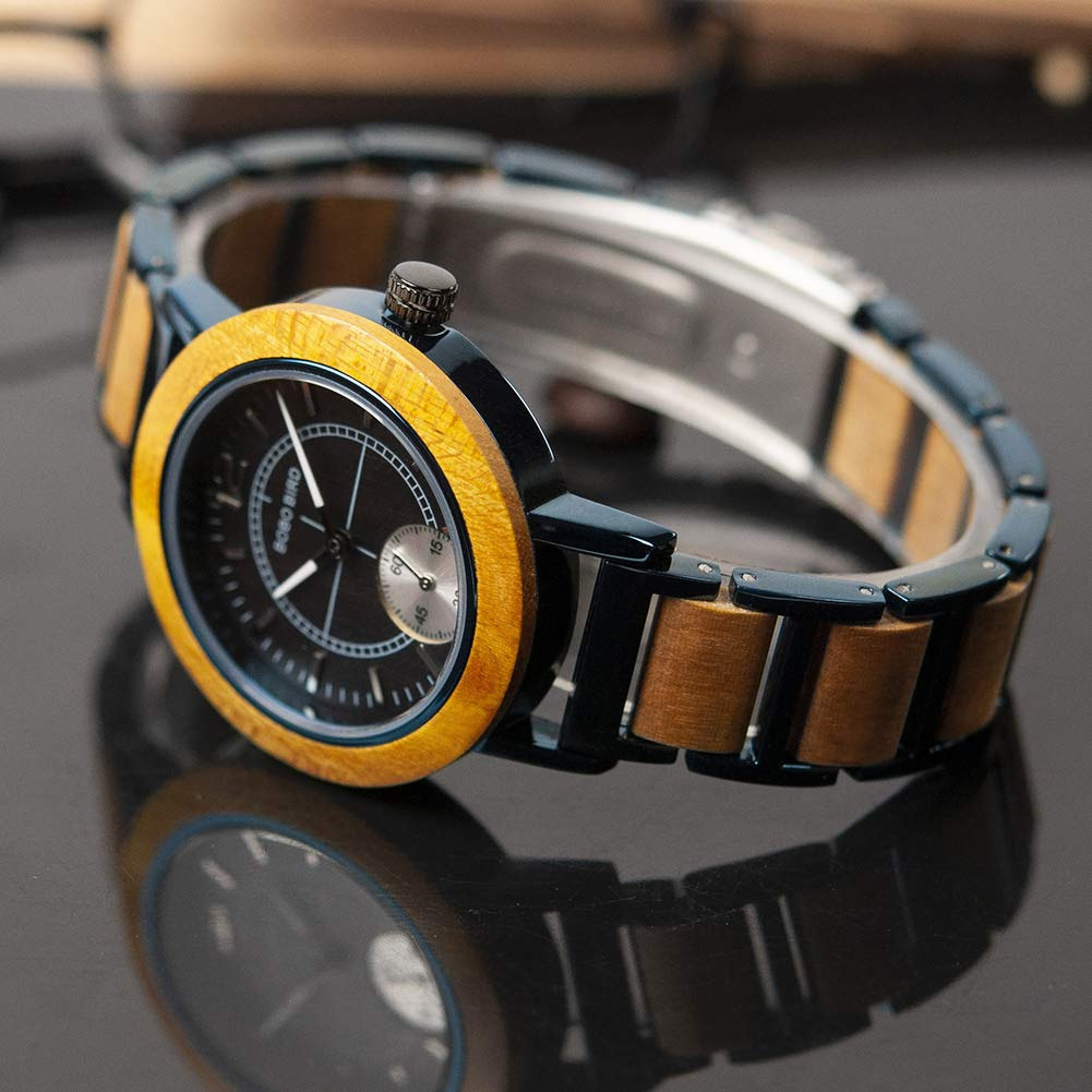 Amazon.com: Women Wooden Watches, Stainless Metral Wrist Watch, Two Dials Handmand Analog Wooden Watch Black Face with Gift Box: Watches