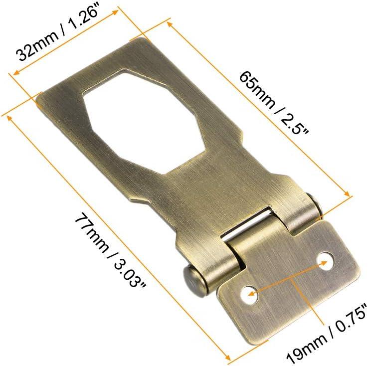 uxcell 4-inch Keyed Hasp Locks Zinc Alloy Twist Knob Keyed Locking Hasp W Screws for Door Cabinet Keyed Alike Copper Tone 3Pcs