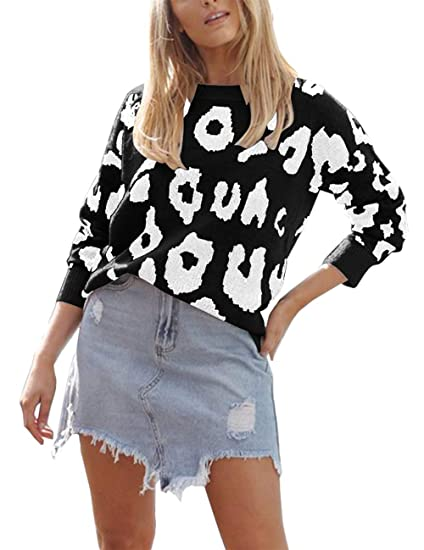 45478c55da186 BTFBM Women Casual Leopard Print Crew Neck Long Sleeve Loose Fit Knit  Fashion Sweater Pullover Tops