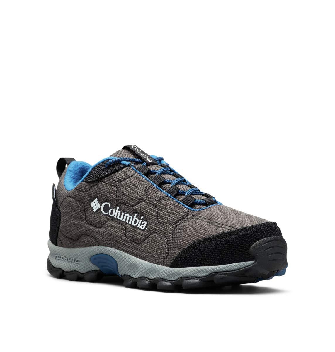 Columbia Unisex Youth Firecamp SLEDDER 3 Waterproof Hiking Shoe, Dark Grey/Royal, 4 Regular US Big Kid
