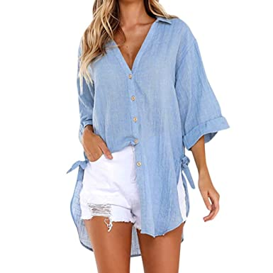 0062cde30c9 iQKA Women Loose Button Long Sleeve Shirt Dress Cotton Linen Blouse Casual  Solid Top(Blue
