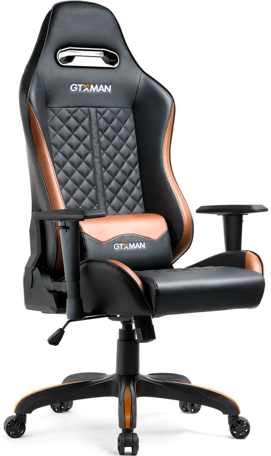 GTXMAN Gaming Chair Ergonomic High Back PU Leather Racing Style with Adjustable Armrest and Back Recliner Swivel Rocker Office Chair Brown by GTXMAN