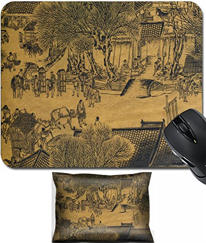Dynasty Shoulder Pad - MSD Mouse Wrist Rest and Small Mousepad Set, 2pc Wrist Support design: 2813452 Antique chinese silk painting in the style of the song and yuan dynasties nature landscapes and countrysid