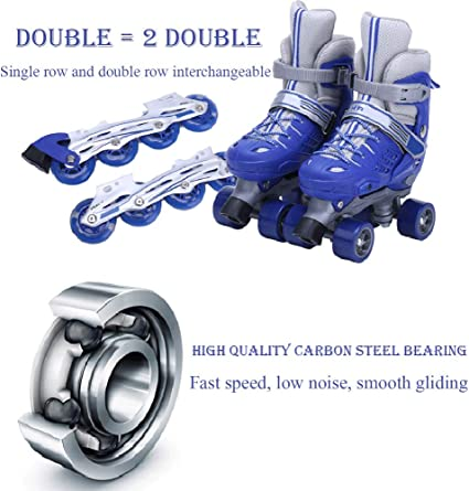 Kinder Verstellbare 4-Rad Quad Roller Skates Stiefel mit PVC-R/ädern f/ür M/ädchen und Jungen DAZISEN Rollschuhe