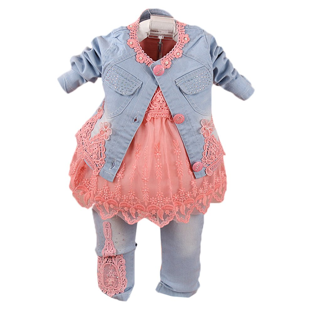 ba18522d309 Scothen Baby Girl 3pcs Veste+Tutu+Pantalon Denim Jeans Haut Robe Cow-Boy  Robe ...