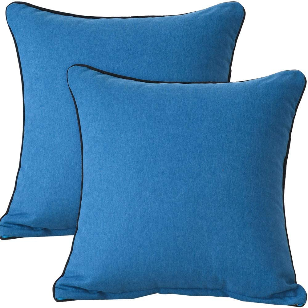 NASHEBLUE Set of 2 Dark Blue Pillow Cover Decorative Pillows for Sofa Super Soft Pillow case for Bed Cushion fit for Home, Office, Hotel and café, Multiple Color Choice 18 X 18 Inches(Candy Color)