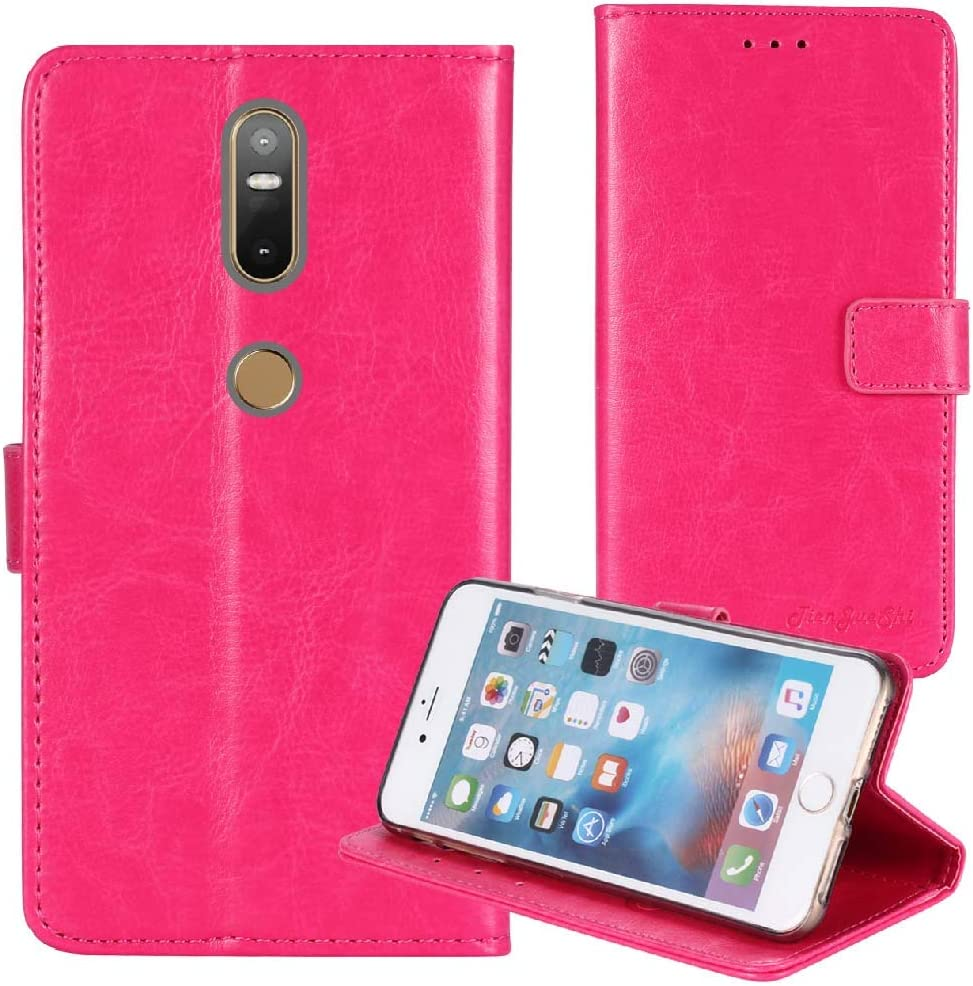 TienJueShi Rosa Book-Style Flip Leather Protector Case Cover TPU Silicone Etui Wallet for Lenovo PHAB 2 Plus 6.44 inch