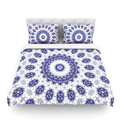 Kess InHouse Iris Lehnhardt M2 Blue White Cotton Queen Duvet Cover 88 x 88