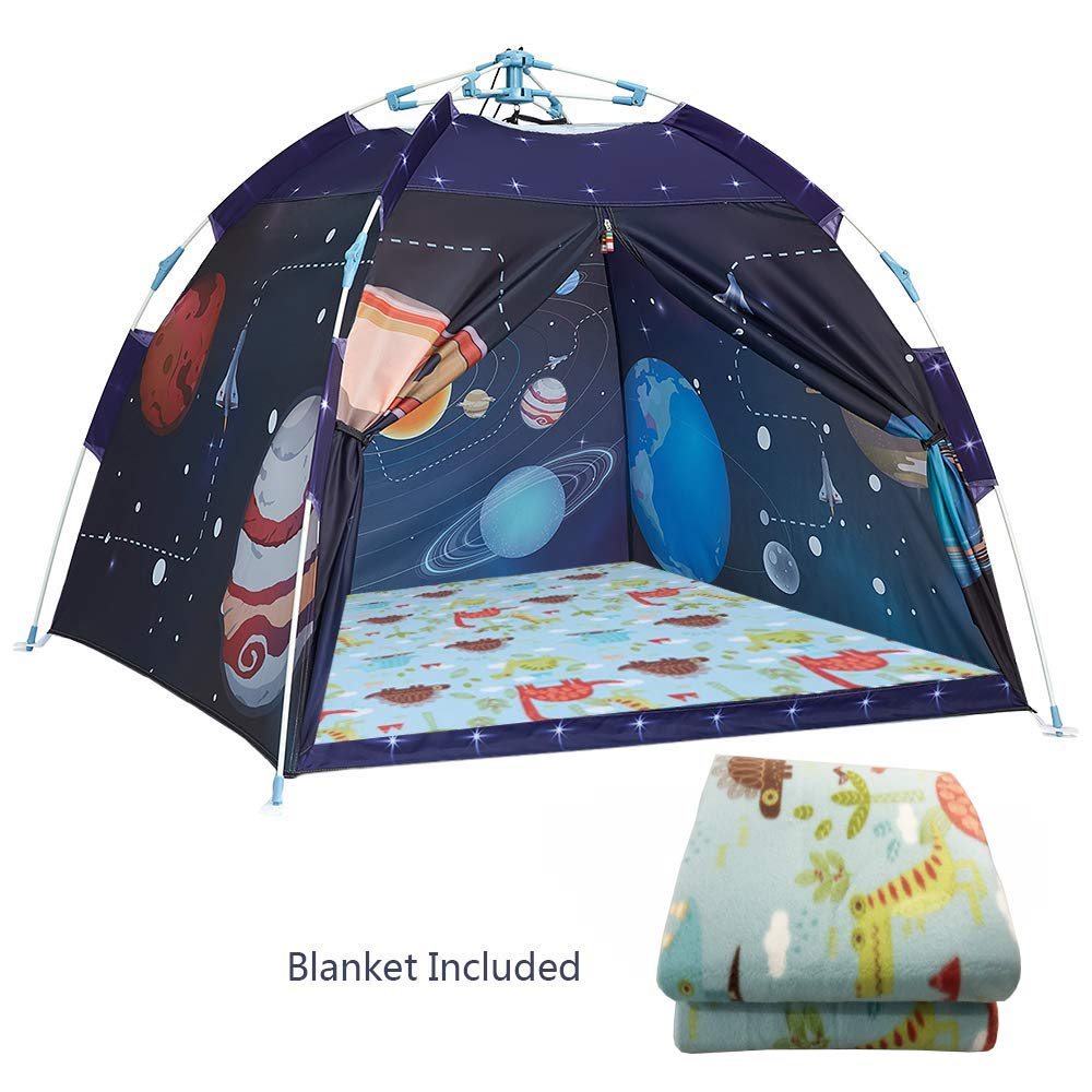 Ai-Uchoice Kids Play Tent Cosmic Space Tents Pop Up Kids Playhouse Comes with 44.5''x44.5''Moisture-Proof Blanket Best Indoor Outdoor Gift Game for Boys and Girls