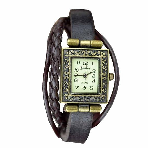 Reloj de Pulsera Joya Reloj Mujer Algodón Dial Rectangular Números arábigos Quarzo analógico Mujer Marrón Aci: Amazon.es: Relojes