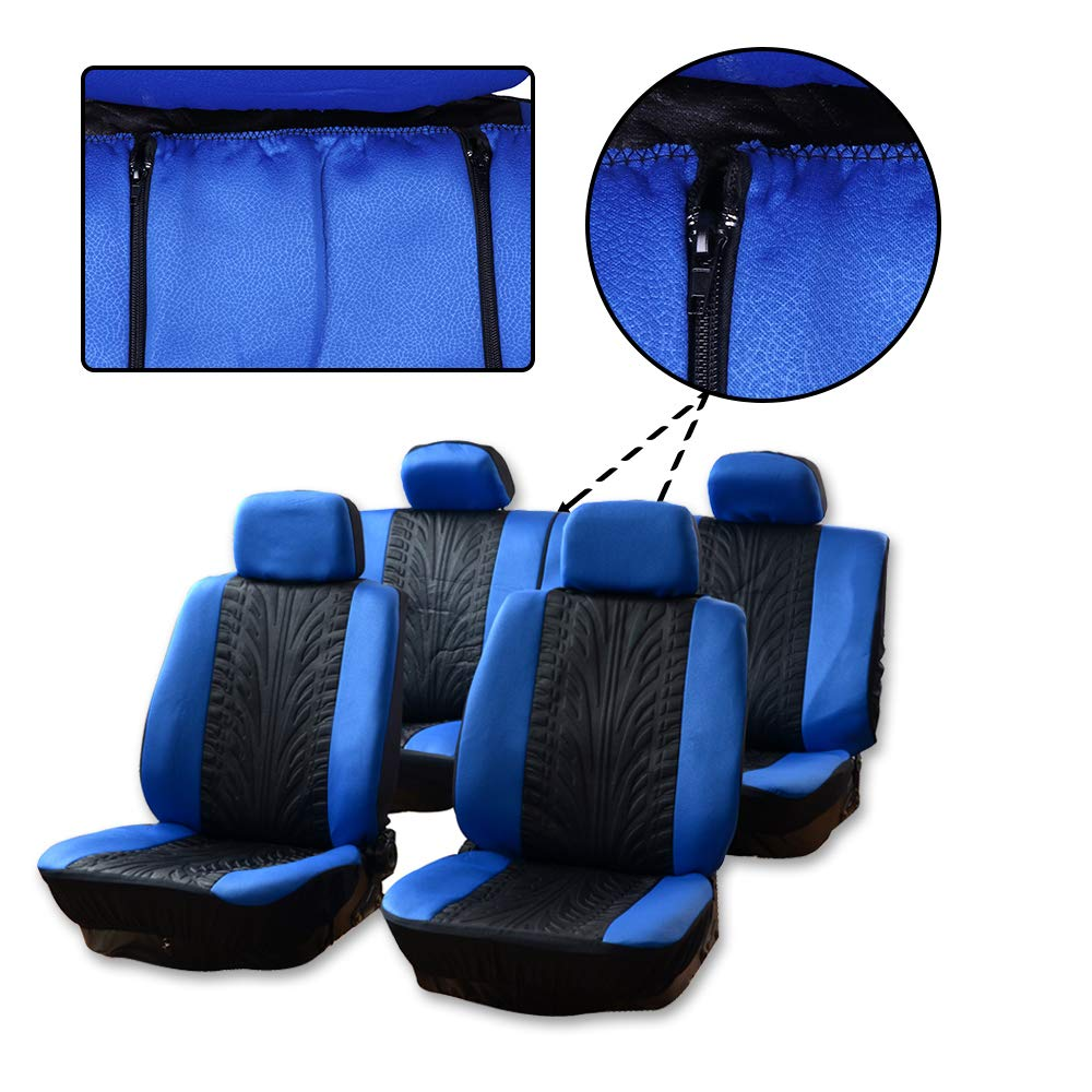 SCITOO Universal Black//Gray Car Seat Cover w//Headrest Covers//Steering Wheel Cover//Shoulder Pads 11PCS Breathable Embossed Cloth Retractable Auto Seat Cover Replacement for Most Cars
