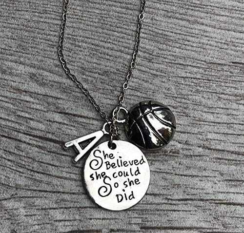 Personalized Basketball Necklace with Letter Charm, Girls Basketball Jewelry, Basketball She Believed She Could So She Did Charm Necklace, Girl Basketball Players