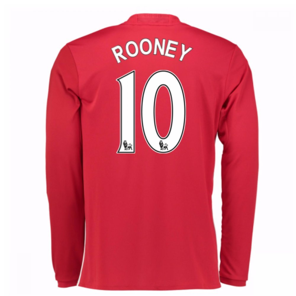 2016-17 Man United Home Long Sleeve Football Soccer T-Shirt Trikot (Wayne Rooney 10)