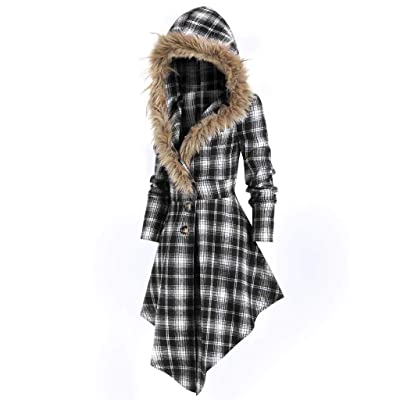 Sttech1 Women's Fashion Faux Fur Hooded Single Breasted Long Sleeves Trench Coat Asymmetric Wave Hem Wrap Coatwears: Clothing