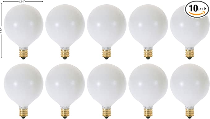 Bulbrite 861211 W Dimmable G16.5 Shape Incandescent Bulb E12 25 Pack Base with Candelabra Screw
