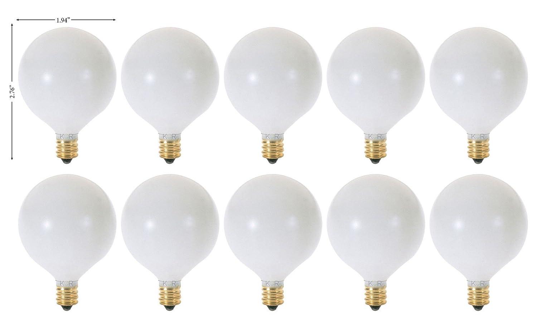 (Pack of 10) G16.5 Decorative (E12) Candelabra Base Globe Shape 120V G16 1/2 Light Bulbs (White, 25 Watt)