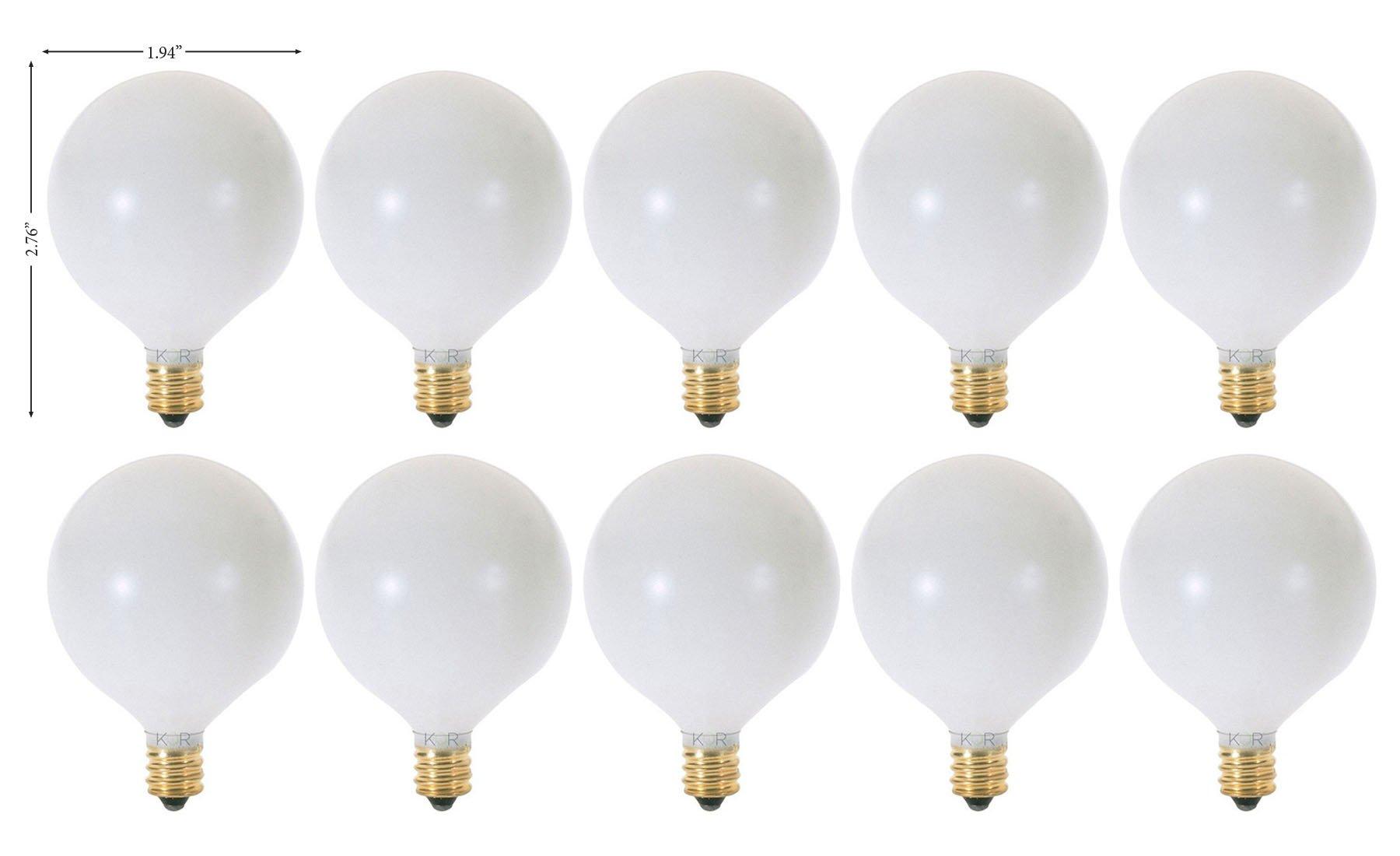(Pack of 10) 25 Watt White G16.5 Decorative (E12) Candelabra Base Globe Shape 120V 15G16 1/2 Light Bulbs