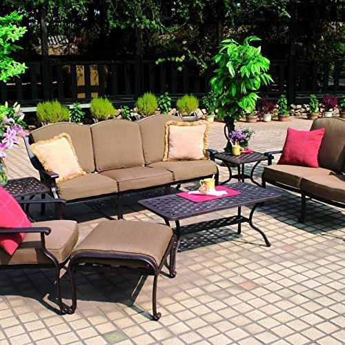 Darlee Ten Star 7 Piece Cast Aluminum Patio Conversation Seating Set With Coffee Table & 2 End Tables (Ten Star Cast Darlee)