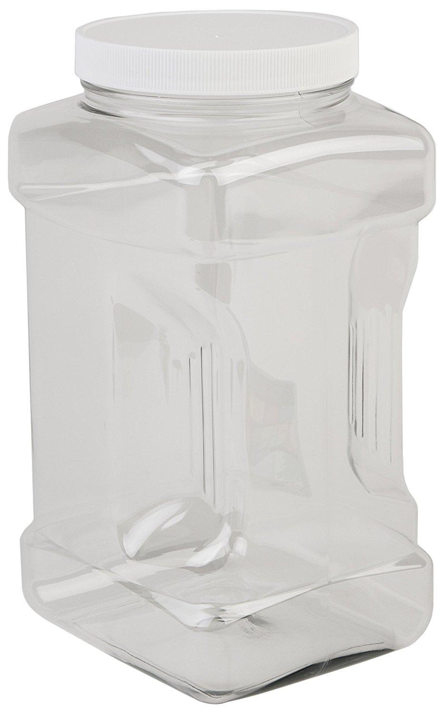 Hudson Exchange 1 Gallon Plastic Grip Jar with Cap, PET, 16 Pack