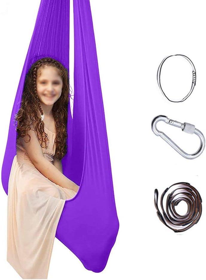 Niños O Adultos Hamaca Sensorial Cuerda De Árbol Y Terapia De Autismo Columpio De Terapia Integración Sensorial Al Aire Libre (Color : Purple, Size : 150 * 280CM/59 * 110in)