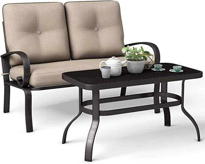 Giantex 2 Pcs Patio Loveseat with Coffee Table - Best for Comfort