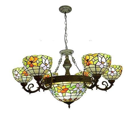 6 + 1 Lámparas de luz Estilo Tiffany Lámpara colgante con ...