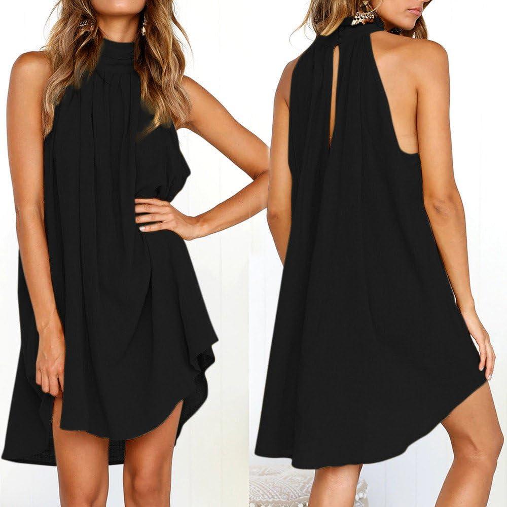 ✿HebeTop✿ Womens Elegant High Neck Sleeveless Cocktail Party Dress