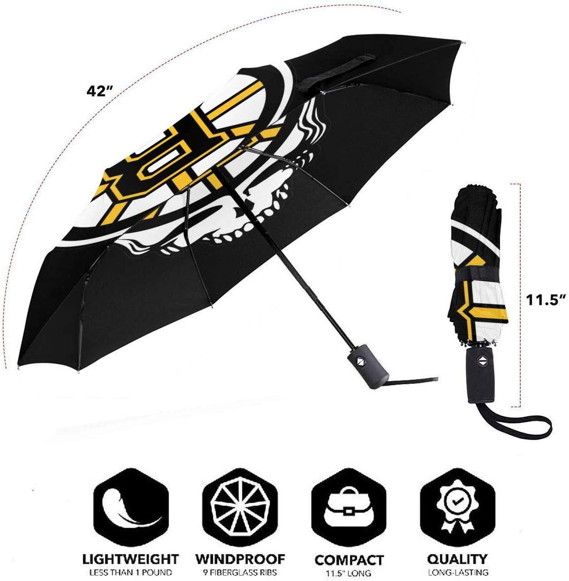 Lovesofun Portable Automatic Umbrella Bos-ton B-Ruins Compact Auto Open Close Folding Business Umbrellas UV Protection Automatic Tri-fold Umbrella for Men and Women