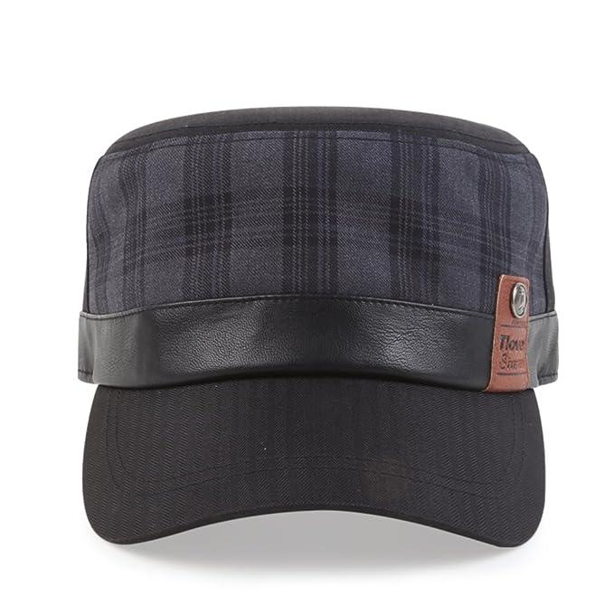 Gorras planas/ sombreros al aire libre de los hombres/Gorra casual/ casquillo coreano joven/Pareja de algodón a cuadros sombrero de ala corta-A un tamaño: ...