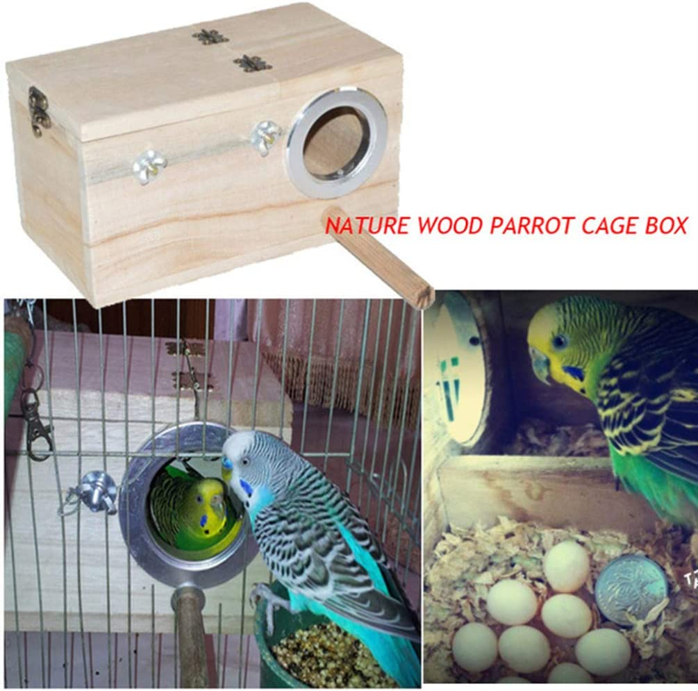 TEHAUX Parakeet Nest Box Bird House Nest Wood Breeding Box for Budgie Lovebird Finch Parrotlet