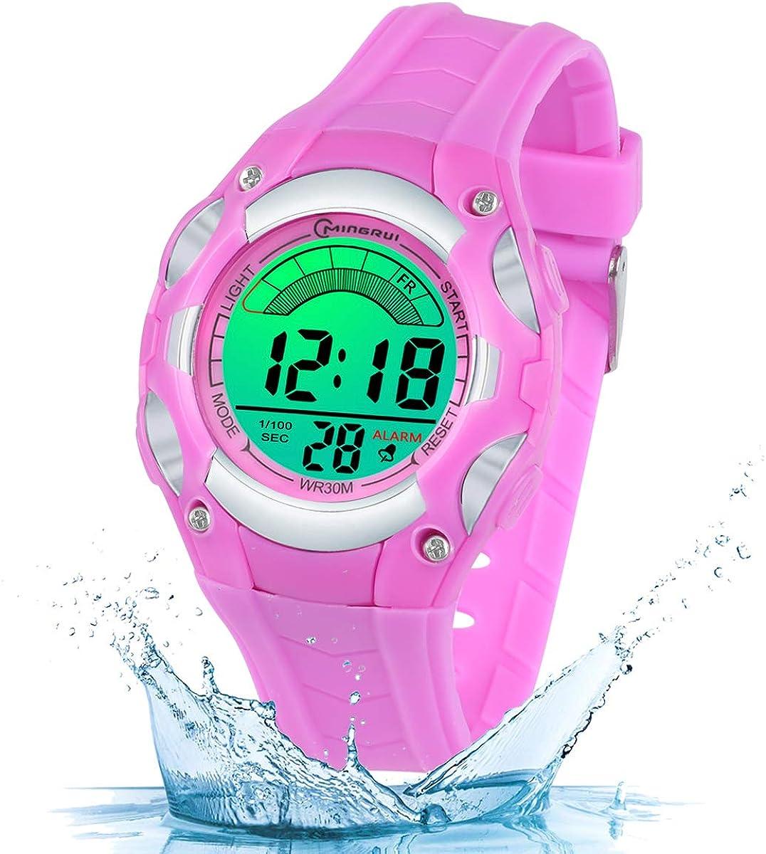 Reloj Digital para Niños Niñas, Reloj Infantil Deportivo 7 Colores Luz LED Multifuncional Impermeable 30 M Relojes de Pulsera para Exteriores con Alarma para Niños de 4 a 15 años.