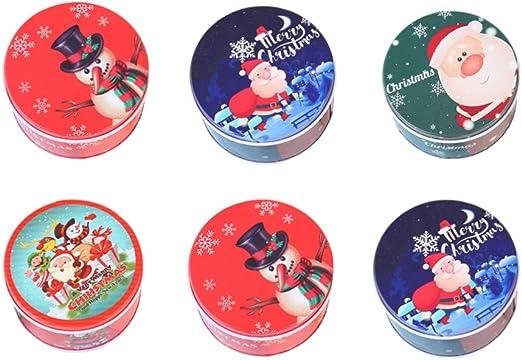Amosfun 6 piezas latas de metal de navidad caja de regalo de caja de dulces de