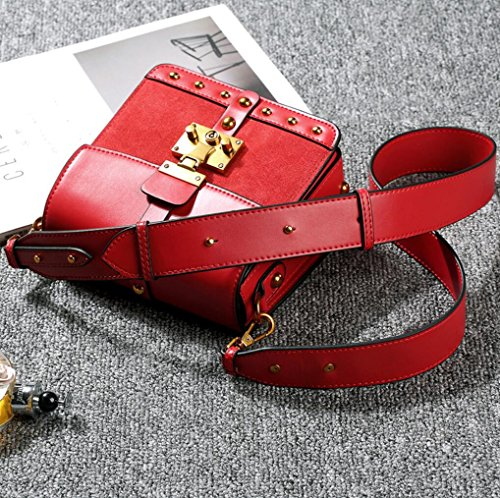 Red Cross Bags Women Straps Rivet Girl Leather Shoulder Bags Cross Lady Handbags Frosted Shoulder Body Wide Lock TINGTING Body Bag Genuine Casual z1xqgUU